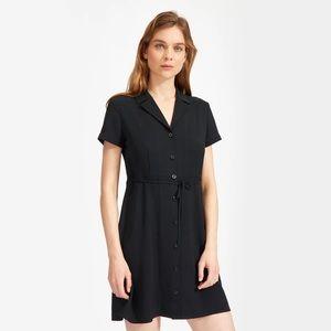 Everlane Shirt Dress Black Belted Short Sleeve 4